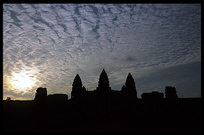 Silhouettes of the towers of Angkor Wat at sunset. Siem Riep, Angkor, Cambodia