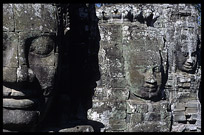 Details of the faces in the Bayon. Siem Riep, Angkor, Cambodia