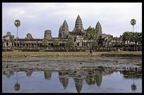 A breathtaking view, Angkor Wat mirrors in a lake. Siem Riep, Angkor, Cambodia