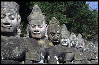Some of the 54 gods in front of Angkor Thom's South Gate. Siem Riep, Angkor, Cambodia