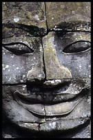 Close up of one of the many smiling faces in the Bayon, Angkor Thom. Siem Riep, Angkor, Cambodia