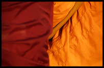 Detail of two Buddhist monk's robes.