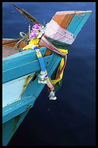 Decorated bow of a fishing boat in a fishing community north of Sihanoukville.
