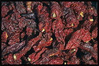 Dried peppers for sale at the Sunday Market. Kashgar, Xinjiang, China