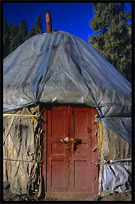 Detail of a Yurt at Heaven Pool or Heavenly Lake (Tian Chi). Urumqi, Xinjiang, China