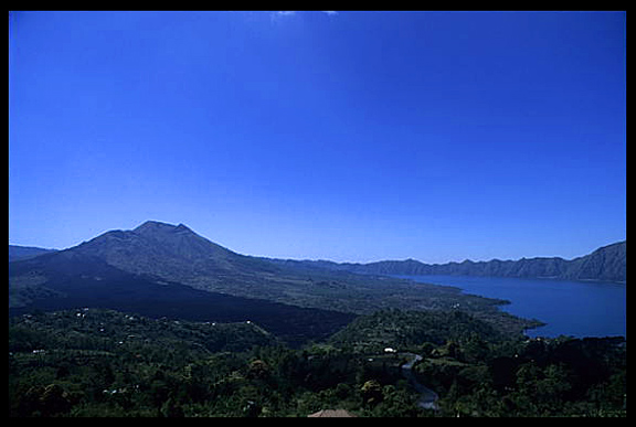 An overview from Bedugul on volcanic Lake Bratan.