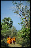Buddhist monks on the four thousand islands. Si Phan Don, Don Khong, Laos