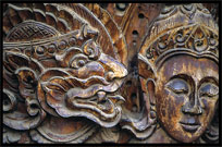 Decorative carvings at Wat Luang. Pakse, Laos