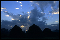 Haystacks at sunset near Hsipaw.