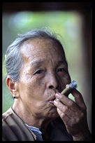 A tribeswoman smoking a cheroot near Hsipaw.