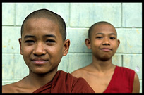 Two Burmese monks at the monastery in Hsipaw.