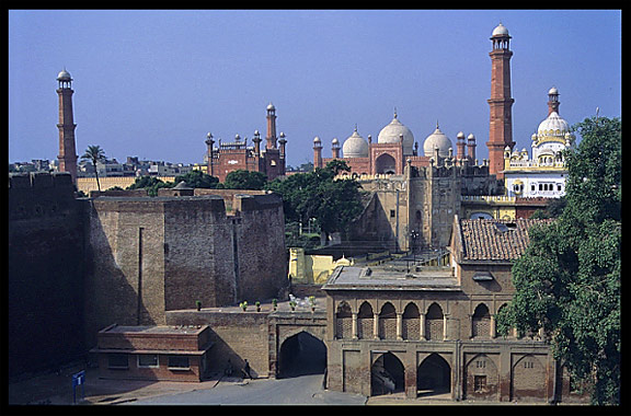 Lahore Fort overlooking the Badshahi Mosque. Lahore, Pakistan