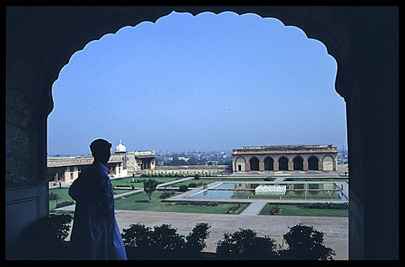 Lahore Fort overlooking one of the many fountains. Lahore, Pakistan