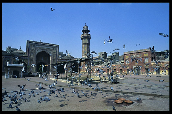 A typical courtyard with a washing place in a small neighbourhood mosque. Lahore, Pakistan