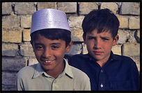 Two young boys at the local mosque. Taxila, Pakistan