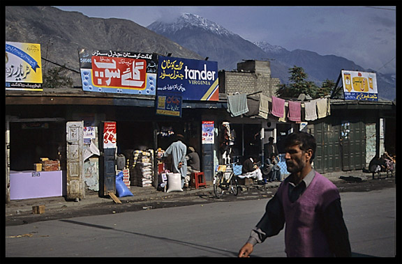 Gilgit's main shopping street. Gilgit, Pakistan