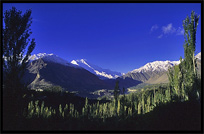 Hunza Valley and Rakaposhi (7790m), seen from Karimabad at sunrise. Karimabad, Hunza, Pakistan
