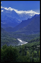 The Hunza River, seen from Karimabad. Karimabad, Hunza, Pakistan