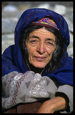Portrait of a Hunzakut woman. Karimabad, Hunza, Pakistan