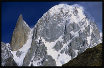 A black pinnacle, Bubulimating (6000m) also called Lady Finger. Karimabad, Hunza, Pakistan