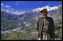 Portrait of a Hunzakut wearing the distinctively Hunza-style woolen cap. Karimabad, Hunza, Pakistan