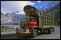 Beautifully painted Pakistani trucks along the Karakoram Highway, Pakistan