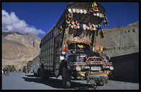 Beautifully painted Pakistani trucks along the Karakoram Highway, Sost, Pakistan