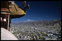 A view over Lhasa and the valley from the roof of the Red Potala Palace. Lhasa, Tibet, China