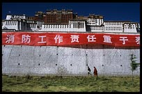Tibetan pilgrims walking the Potala Kora. Lhasa, Tibet, China
