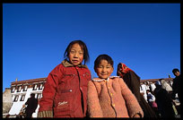 Children playing on the Jokhang square. Lhasa, Tibet, China