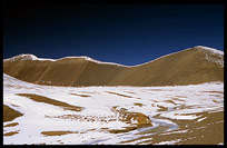 Fresh snow on the mountains near lake Nam Tso. Nam Tso, Tibet, China