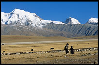 Tibetan pilgrims on the road from Lhasa to lake Nam Tso in a beautiful landscape. Nam Tso, Tibet, China