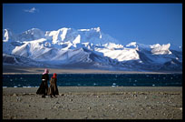 Tibetan pilgrims walking the Nam Tso Kora with clear turquoise water and the magnificent snowy Nyenchen Tanglha massif (7111m) on the background. Nam Tso, Tibet, China