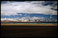 The snowy Nyenchen Tanglha massif (7111m) at lake Nam Tso. Nam Tso, Tibet, China