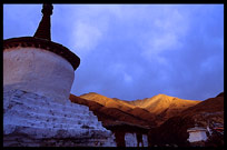 The main dürtro at Drigung Til monastery, the holiest sky-burial site in the Lhasa region, at sunset. Tibet, China