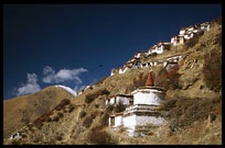 The Kora at Drigung Til monastery heads up the hill to the main dürtro, the holiest sky-burial site in the Lhasa region. Tibet, China