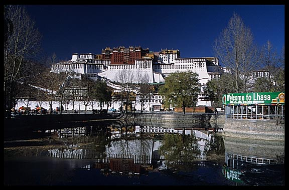 "A small lake in front of the Potala ""Welcom to Lhasa""."
