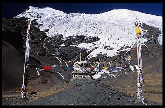 Karo-la pass at 5045m with awesome views of the Nojin-Kangtsang Glacier.